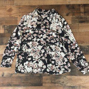 Violet + Claire Floral Button Up Blouse Womens L